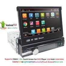 2G RAM 1 Din Android 9 Quad 4 rdzeń samochodowy odtwarzacz DVD odtwarzacz uniwersalny GPS nawigacja Stereo Radio WIFI 4G Audio USB SWC kierownica