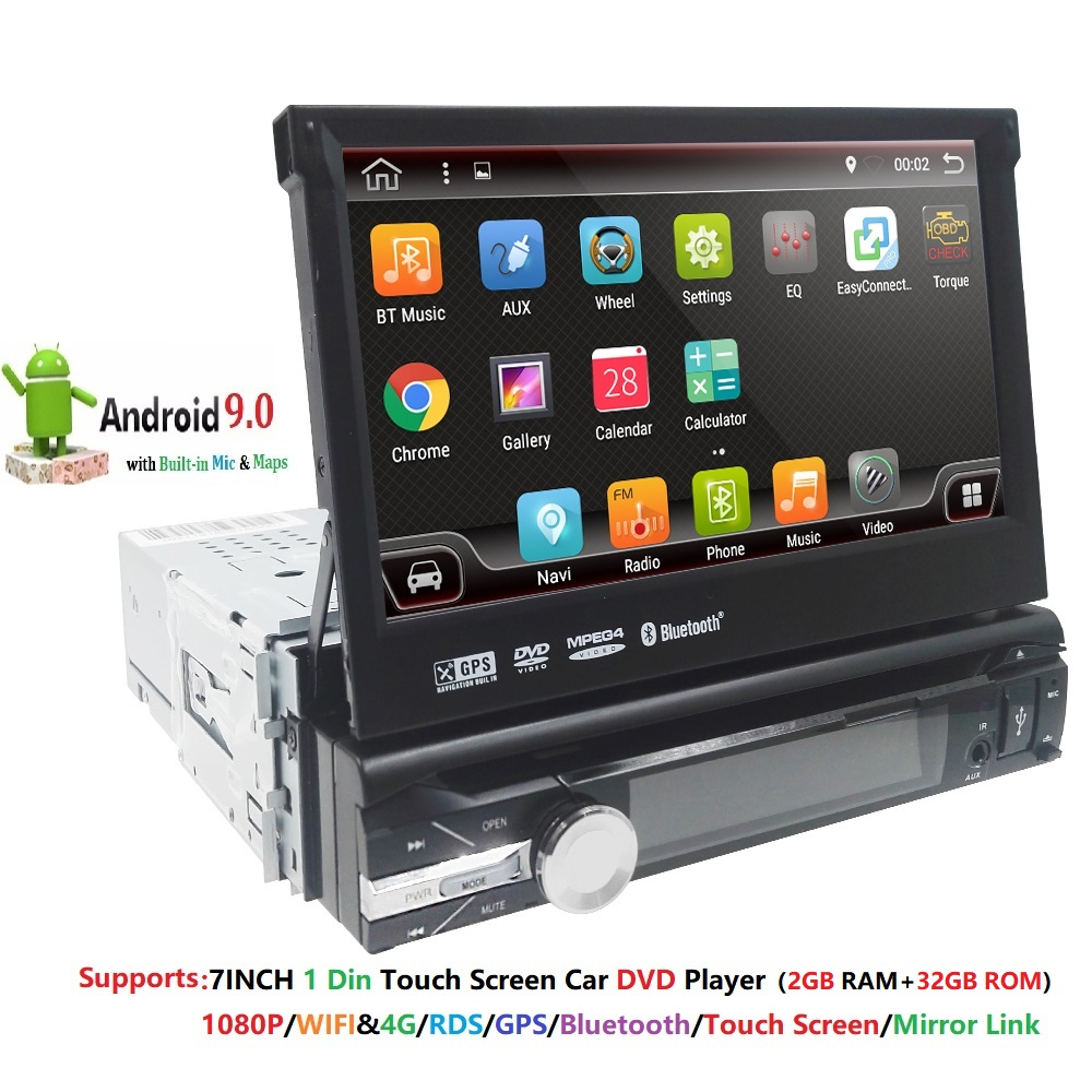 2G RAM 1 Din Android 9 Quad 4 Core Car DVD Player For Universal GPS Navigation Stereo Radio WIFI 4G Audio USB SWC Steering Wheel image