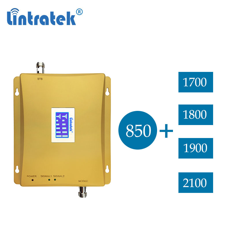 Lintratek 850 2100 B1 2G 3G 1700 UMTS dual band dcs 1800 lte 4g 1900 cdma <font><b>850mhz</b></font> cellular signal booster repeater amplifier dd image