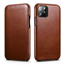 ICARER funda de piel auténtica Original para iPhone 11/ Pro/ Max, funda de lujo con tapa para Apple iPhone 11 Pro Max