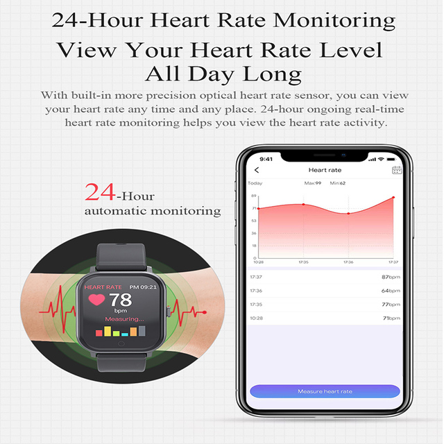 Smart Watch MKS5 Fitness Watch WaterProof Bluetooth Sport Heart Rate Tracker Call/Message Reminder Smartwatch for Android iOS