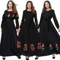 BNSQ весенне-осеннее длинное платье с вышивкой спереди, на молнии, мусульманское грудное вскармливание, большие рукава, молятся, пакистанский...