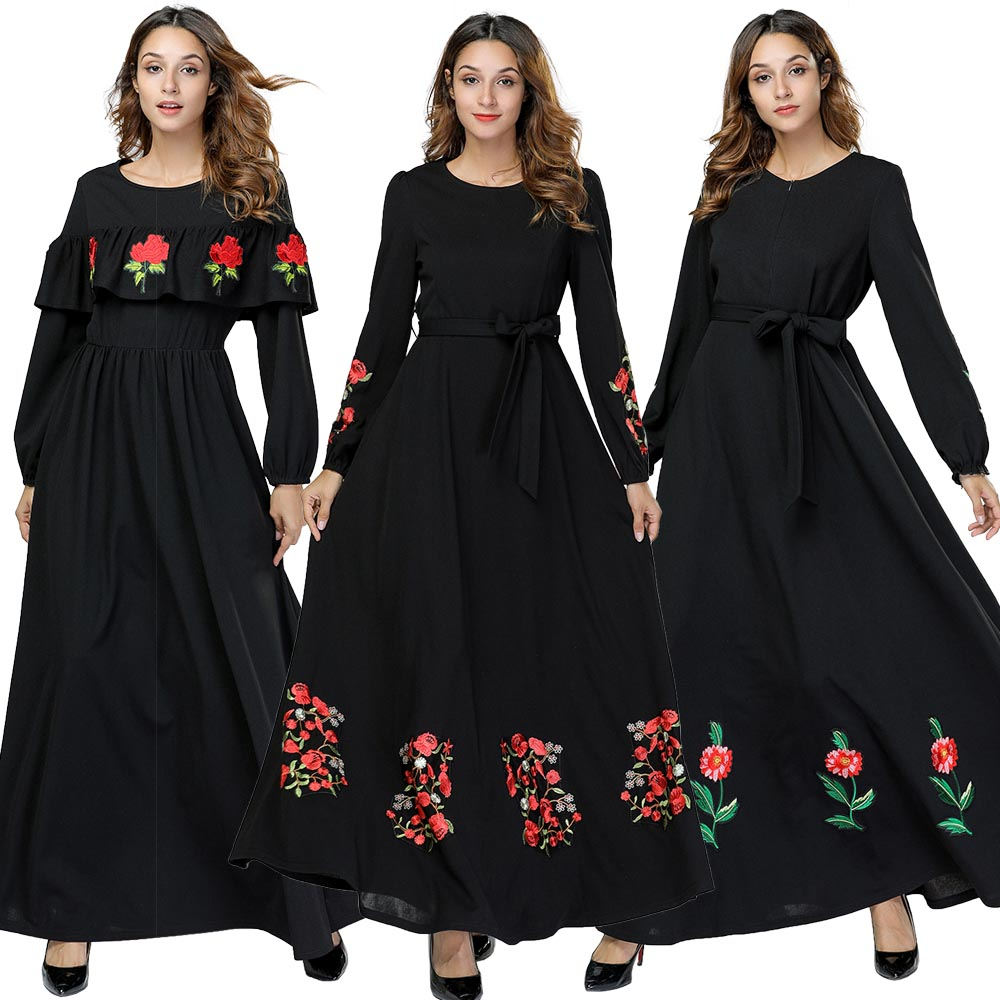 BNSQ Spring&Autumn Long Dress Embroidered Front Zipper Muslim Breastfeeding Large Swing Sleeves Pray Pakistani Kaftan Ramadan