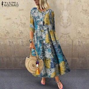 ZANZEA Linen Dress Kaftan Vestido Floral-Printed Beach-Party Vintage Cotton Femme Casual