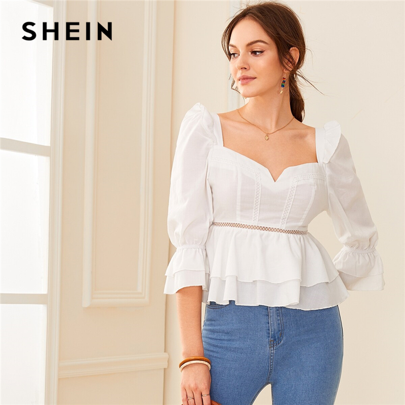 SHEIN Sweetheart Neck Ruffle Trim Layered Peplum Womens Tops And Blouses Autumn Puff Shoulder Elegant Blouse Ladies Slim Fit Top
