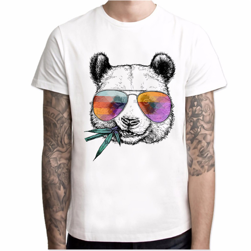 New 2020 T-shirt Men Cool Panda With Sunglasses Printed T-Shirt Short Sleeve Novelty Design Tops O-neck Fashion Men Tee Hipster