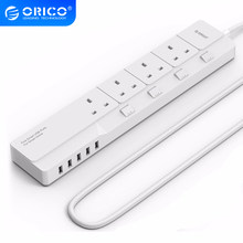 ORICO – barre d'alimentation 4AC, prise UK, 5 Ports USB, câble d'extension de 1.8M, prise électrique pour le bureau et la maison