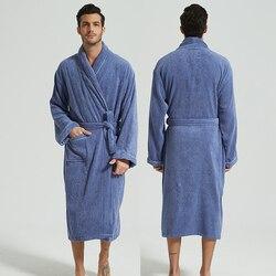 Men's Winter Bathrobe 100% Cotton Lengthened Shawl Bathrobe Home Clothes Long Sleeved Robe Men Robe Towel Fleece Bridesmaid