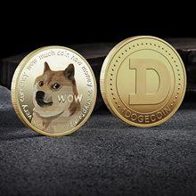Ouro dogecoin moedas comemorativas cão bonito padrão lembrança cão moeda