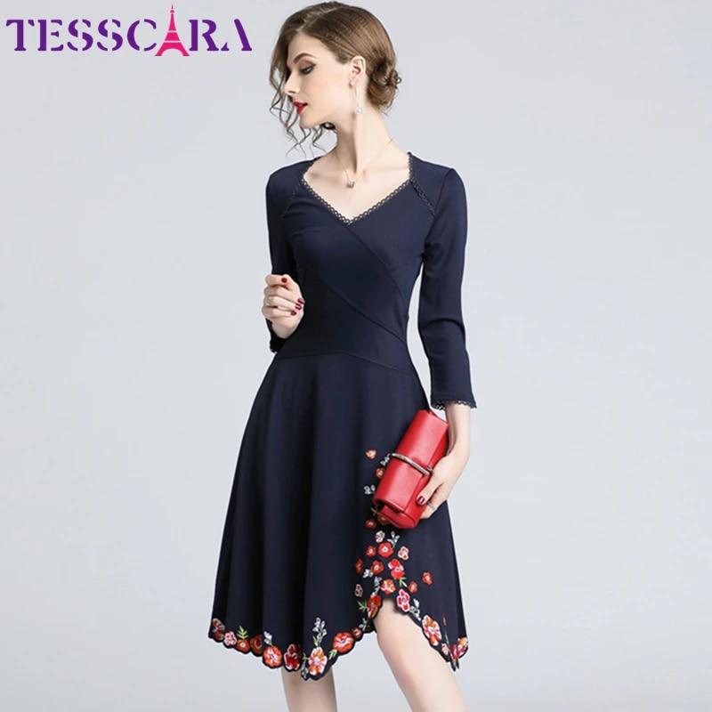Women Floral Embroidered Rose Deep V Neck Black Cute Velvet Summer Dresses