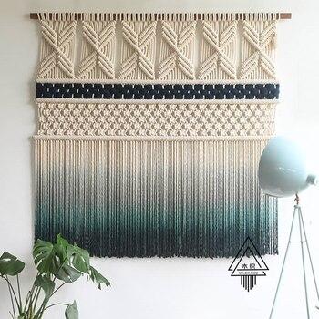 Macrame Large Tapestry Nordic Tapestry Iceland Wool Tassel Hand-woven Macrame Wall Hanging Mandala Headboard Boho Decor