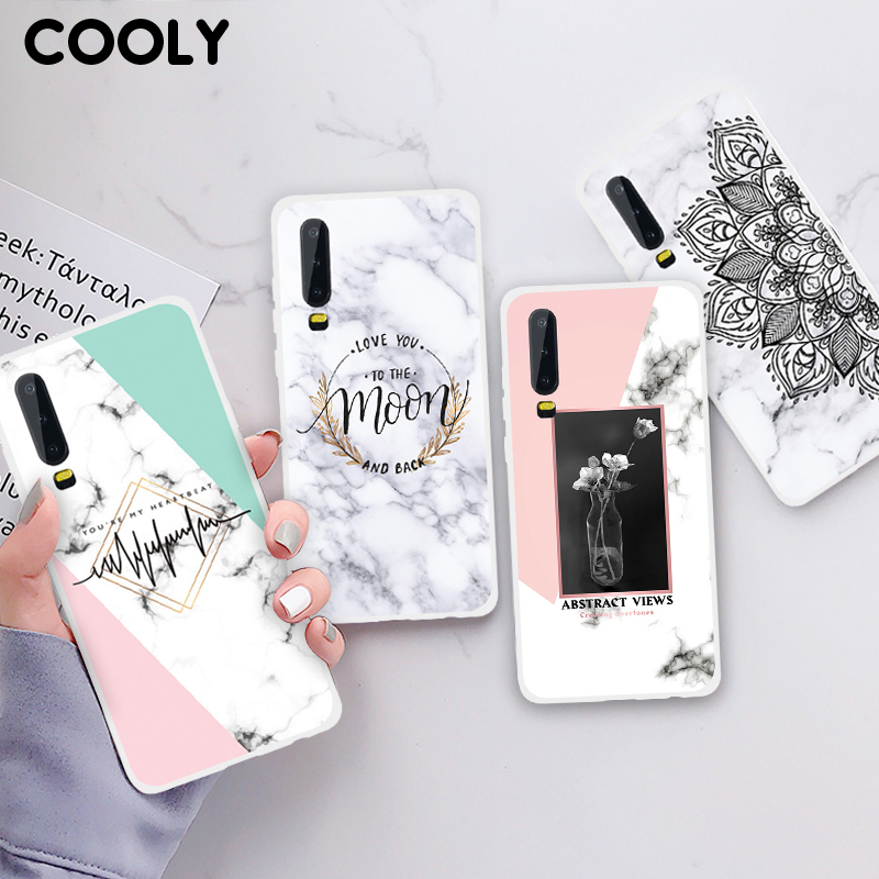 COOLY Marble Case For Huawei P20 P30 Pro P10 P9 Lite P8 2017 Back Cover on TPU Silicone Shell SKin Flower Art Phone Coque