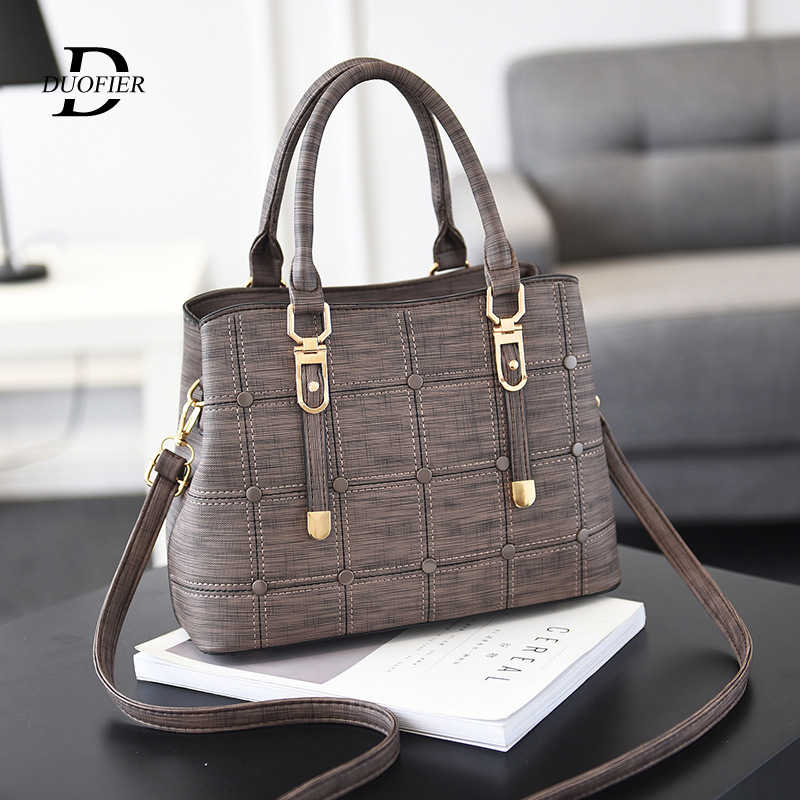 Women's Leather Handbags Designer Fashion Brand Large Capacity Plaid Shoulder Bags High Quality Wild Crossbody Hand Bag Trend