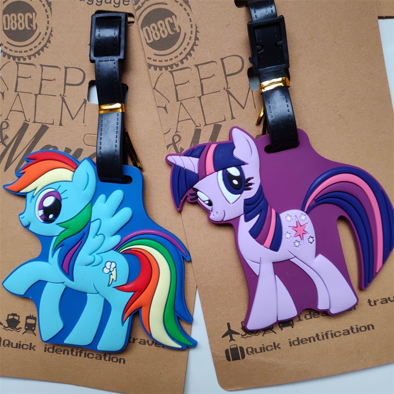 Kawaii Little Pony Suitcase Luggage Tag Cartoon Horse ID Address Holder Baggage Label GeI Bag Dentifier Cute Travel Accessories