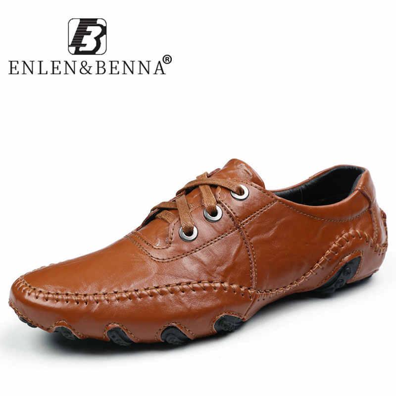 2019 Yeni deri ayakkabı Erkekler Rahat Lüks Loafer'lar Moccasins Işık Rahat Yumuşak Daireler Erkek Sürüş Sneakers Büyük Boy 38-48