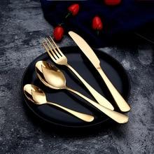 Набор золотых ножей с ложкой, набор золотых ножей для столовых приборов, наборы свадебных столовых приборов, вилки, ножи, ложки, столовые приборы для путешествий, набор столовых приборов, Прямая поставка