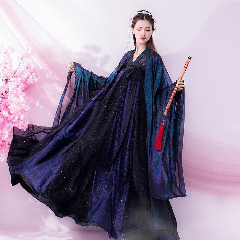 Oriental Dress Hanfu Women Chinese Traditional Costume Classic Stage Dance Tv Drama Summer Hanfu Set Fairy Skirt Starry Sky Aliexpress
