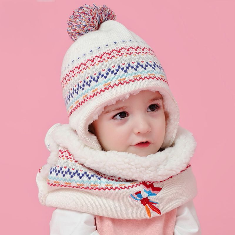 Toddler Kid Winter Warm Plush Lined Pompom Embroidery Earflap Hat Infinity Scarf High Quality And Brand New