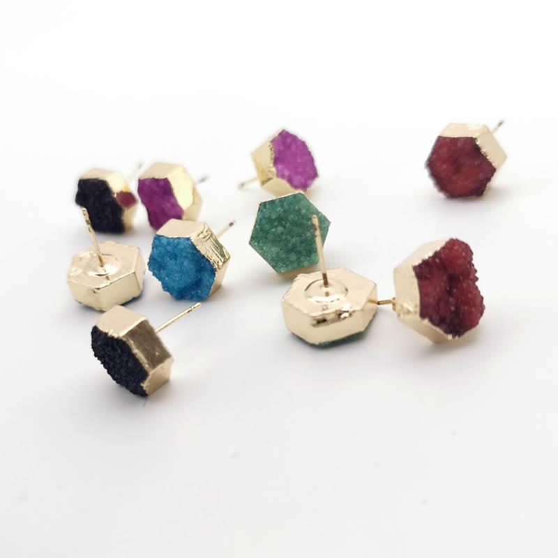 2020 Natural Stone Piercing Stud Earrings for Girl Crystal Quartz Druzy Drusy Gold Color Geode Geometric Hexagon Reiki