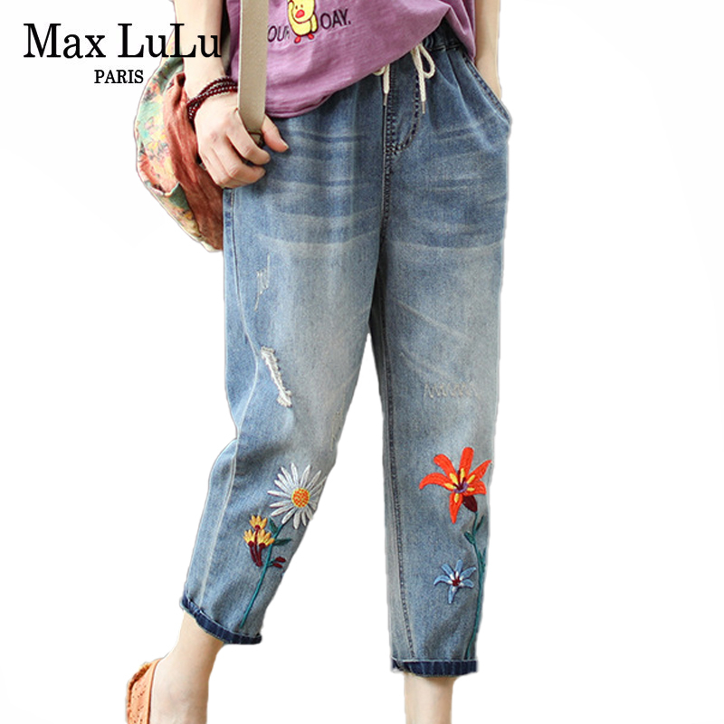 Max LuLu 2020 New Fashion Summer Ladies Elastic Jeans Women Casual Floral Embroidery Denim Trousers Female Oversized Harem Pants