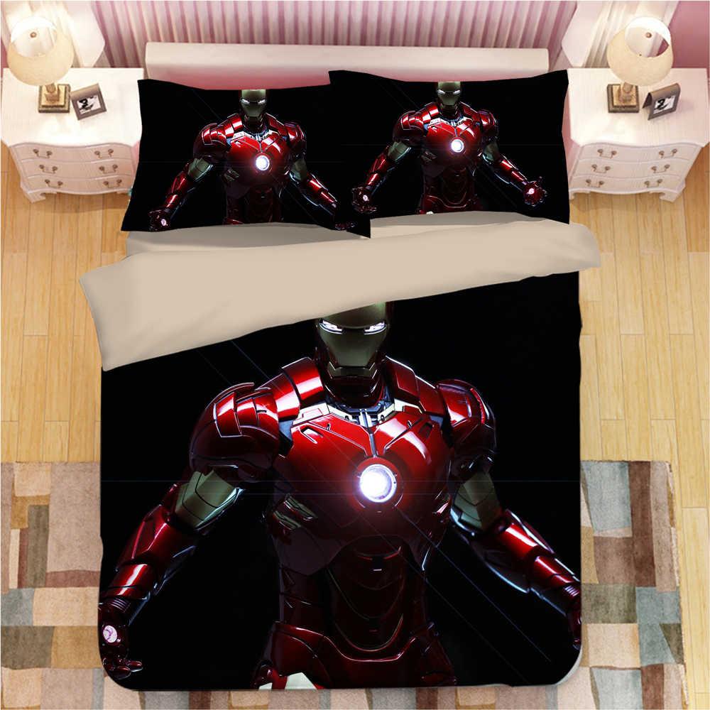 マーベルアベンジャーズアイアンマン寝具セット布団カバートニー · スターク布団寝具セット寝具ベッドリネンベッドセット (なしシート)