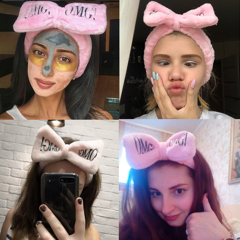 2019 New OMG Letter Coral Fleece Wash Face Bow Hairbands For Women Girls Headbands   Headwear   Hair Bands Turban Hair Accessories