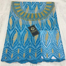 5Y Swiss Lace Fabric Embroidery+Glitter Rhinestone Neckline African Lace Fabrics 100% Cotton Swiss Voile Lace In Switzerland QZS swiss voile lace 100