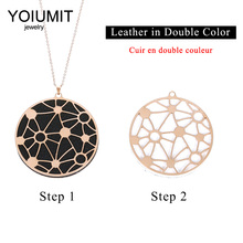 Cremo Stainless Steel Chain Necklace Round Star Pendant & Pendants Interchangeable Leather For Women Jewelry