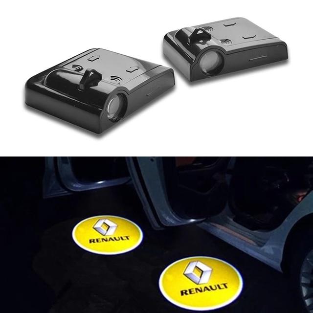 2X Wireless Led ประตูยินดีต้อนรับสำหรับ Renault Clio 4 5 Megane 2 3 Duster Trafic Twingo Talisman Kadjar captur Scenic Kadjar