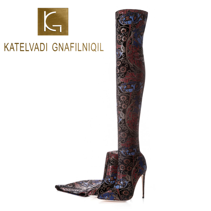 KATELVADI 12.5CM Heels Women Shoes Dress Over Knee Winter Boots Woman Strech Fabric Thigh High Ladies K-581