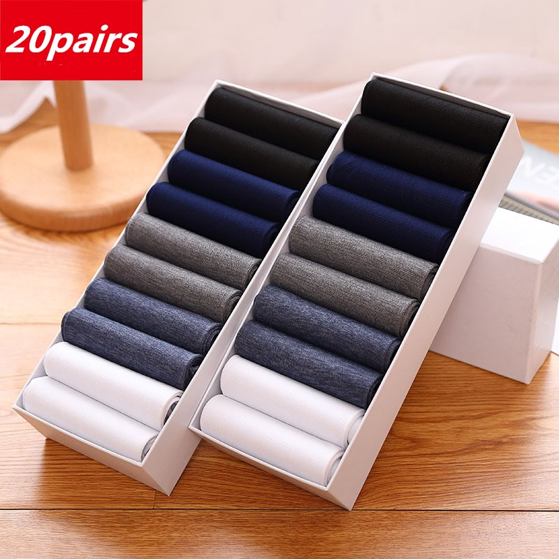 20pairs/lot Men's Summer Thin Section Breathable Thin Socks Men's Socks High Elastic Wear-resistant Ice Silk Cool Business Socks