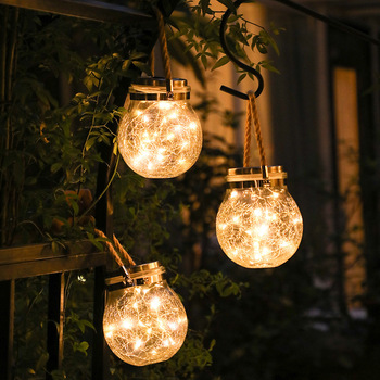 ledniceker multi colored solar led string lights with garden solar panel for garden patio christmas tree parties and all outdoor and indoor activities decoration 4 8 meters long 20 waterproof bulbs LED Solar Christmas Fairy String Lights Outdoor Waterproof Solar Crackle Glass Round Light Garden Lawn Christmas Tree Decor