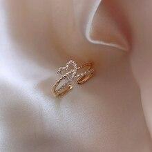 MENGJIQIAO 2020 Korean Delicate Zircon Heart Twist Open Adjustable Rings For Women Students Micro Pave Finger Ring Jewelry