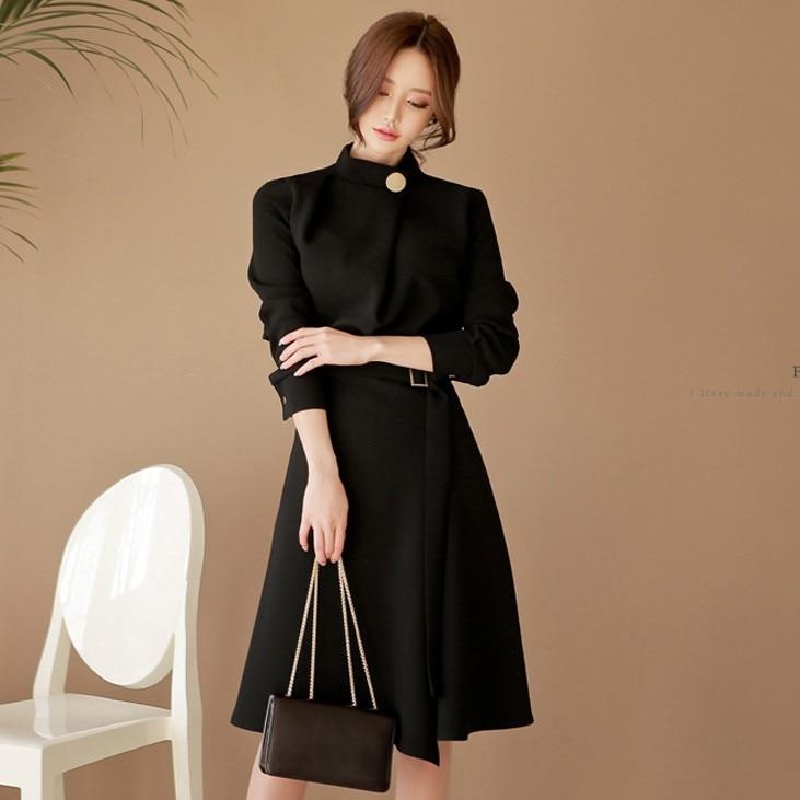 BacklakeGirls Elegant High Neck Jersey Cocktail Dress Black Belt Design Long Sleeve A Line Vestido Party Dress Vestido Curto