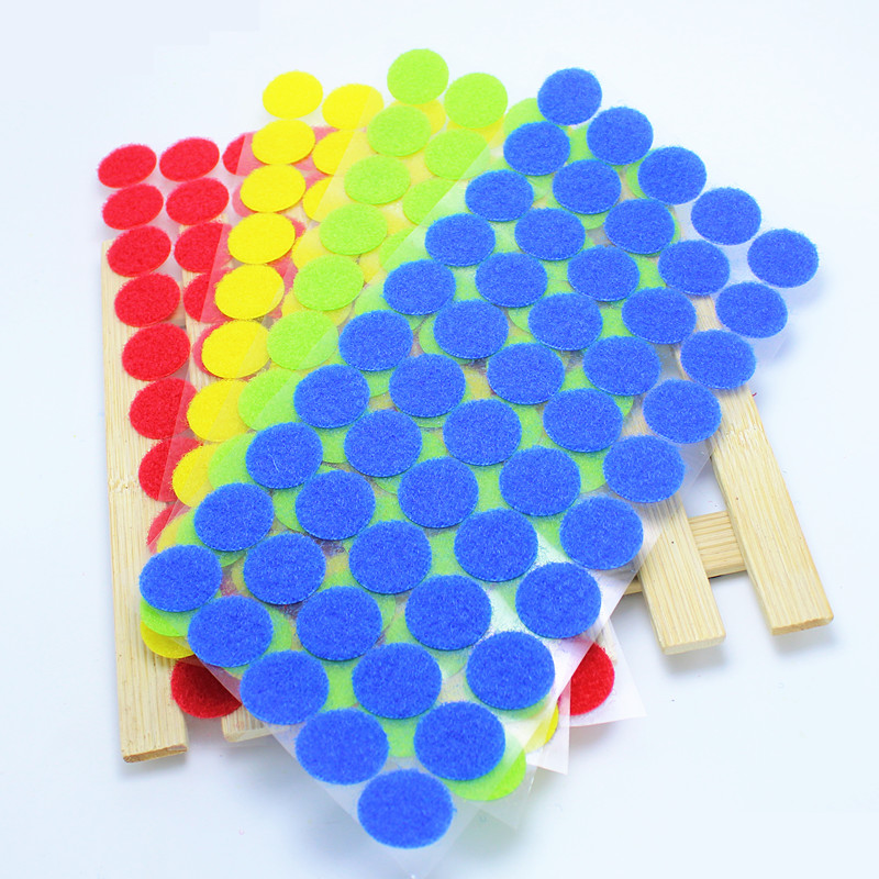 AIJJU 100 Pairs 20mm Color Round Self-Adhesive Adhesive Fastener Tape Dots Sticky Back Hook And Loop Magic Sticker Double Sided