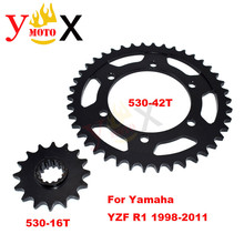 YZF-R1 Motorcycle Front & Rear Set 530-16T 530-42T Chain Sprocket Gear Steel For Yamaha YZF1000 YZF R1 1998-2011 1999 2000 2001