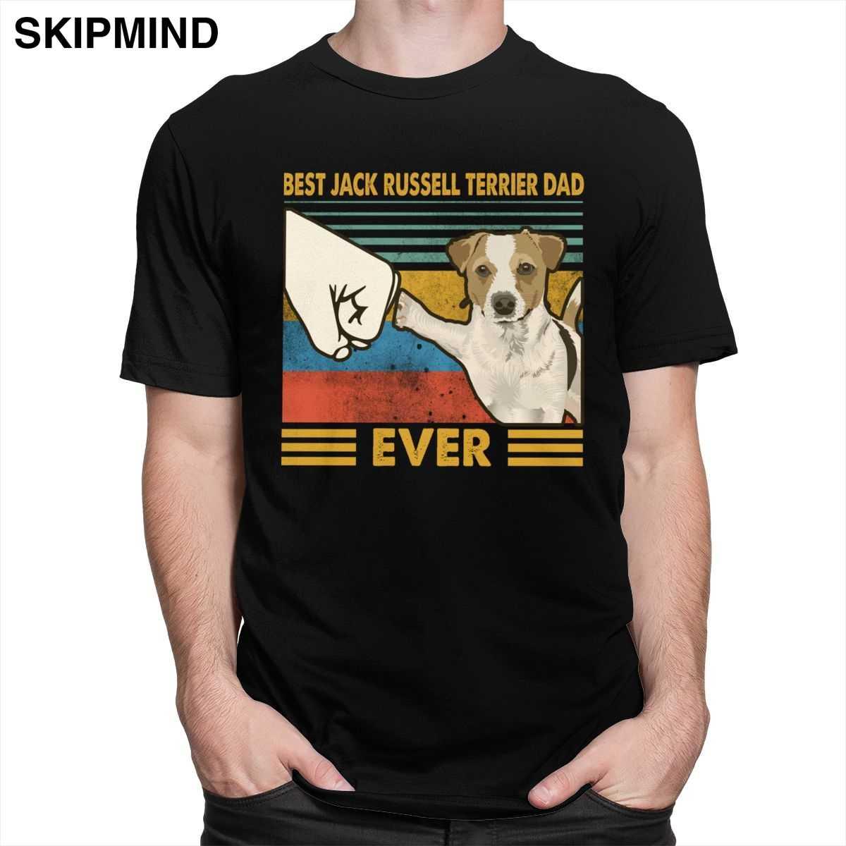 Retro Beste Jack Russell Terrier Dad Immer T Shirt für Männer Kurzarm Hund Liebhaber Sommer T-shirt Weiche Baumwolle T waren Geschenk