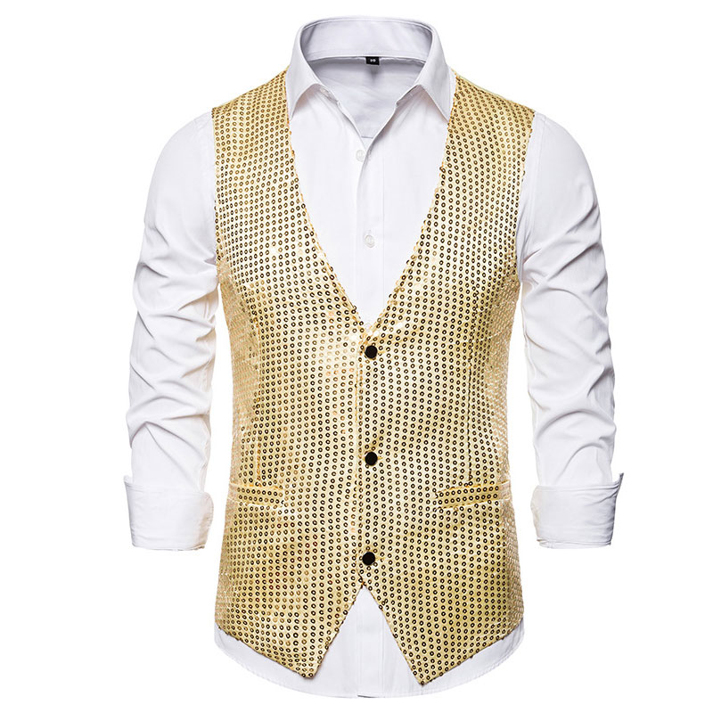 Casual Mens Waistcoat Vest With Tie Gold Men's Vest Stage Formal Wedding Single Breasted Male Vest Suit Chalecos Gilet Homme
