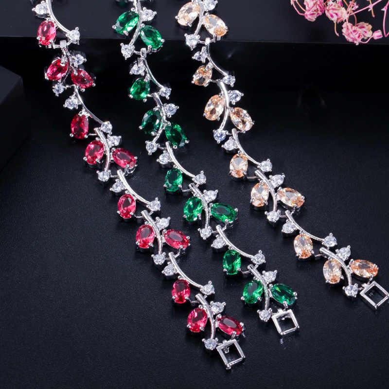 Pera 6 สีตัวเลือกเงิน 925 หินสีเขียวและดอกไม้ Cubic Zirconia Charm Bracelets เครื่องประดับสำหรับผู้หญิง b043