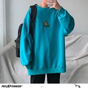 Image 4 - Privatithinker masculino outono dinossauro bordado pullovers sweatshirts dos homens 3 cores o pescoço hoodies moda masculina camisola coreana