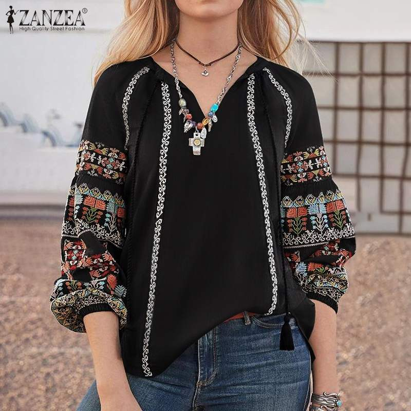 ZANZEA 2020 Plus Size Women's Printed Blouse Bohemian Puff Sleeve Shirts V Neck Work Blusas Female Lace-Up Tunic Top Chemise 5XL