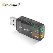 Placa de som usb 5.1, usb externo para jack 3.5mm fone de ouvido adaptador de áudio micphone placa de som para mac win conter linux android