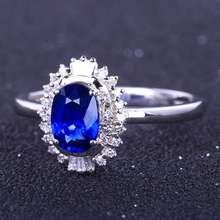 925 Sterling Silver Sapphire Ring Ladies Brilliant Luxury Atmospheric Classic Dark Blue Zircon Opening Adjustable Jewelry
