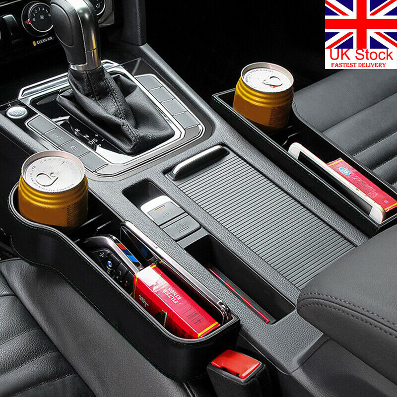 2 PC Black Car Seat Slit Pocket Car Seat Gap Slit Pocket Storage Organizer UK
