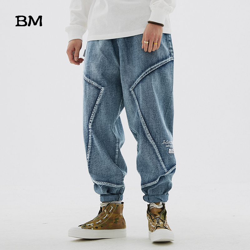 High Quality Straight Jeans Loose Fashions Cargo Pants Men Korean Style Hip Hop Denim Trousers Streetwear Harajuku Blue Jeans
