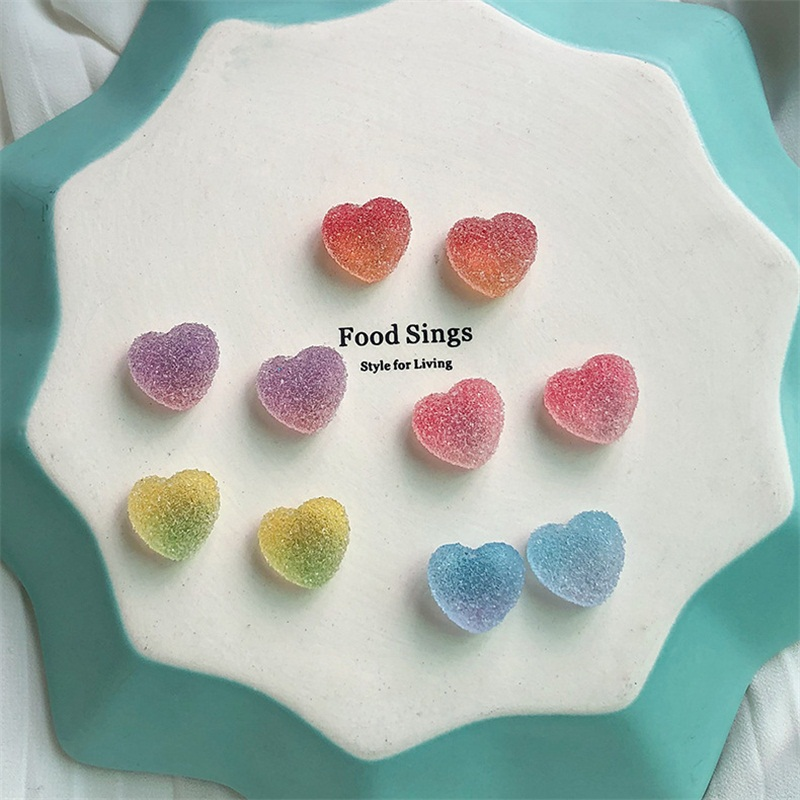 Valentines day color gradient granule candy heart ear nail soft girl lovely sweet eardrop