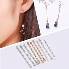 Brincos de cilindro duplo 50/pçs/lote 15-40mm, conectar para fazer jóias brinco achados diy ouvido jóias suprimentos