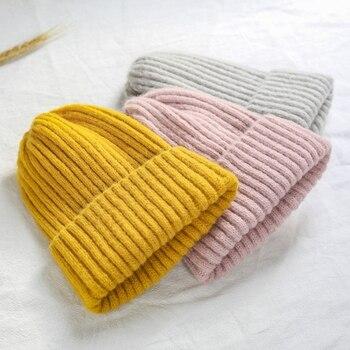 Womens Beanie Hat Autumn Women Wool Knit Cuff Watch Cap for Girls Spring Skull Hats Female - discount item  40% OFF Hats & Caps