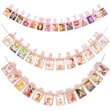 Фоторамка на день рождения, баннер для всей семьи, украшение для вечерние Ника, дети, мальчик, девочка, мой первый год, товары 12 месяцев