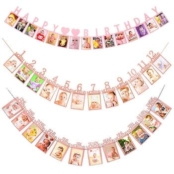Marco de fotos de feliz cumpleaños Banner para decoración de primera fiesta familiar niños bebé niña mi primer año suministros 12 meses